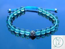 Blue Fluorite Om Sterling Silver Natural Gemstone Bracelet 6-9'' Macrame Healing