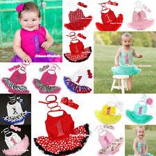 Multilist Birthday Number 1 ONE Baby Jumpsuit Romper Dress Headband Bow NB-2Year