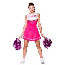 Ladies HIGH SCHOOL CHEERLEADER Pink Glee Fancy Dress Costume UK Sizes 6-20