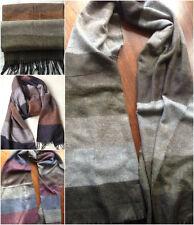 Men's Warm Winter Cashmere Blend Striped Scarf 180 x 64 cm