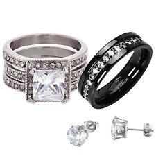 His Hers Wedding Ring Set CZ Stainless Steel & Black Titanium + Free Earrings dj