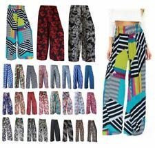 Donna Palazzo stampa floreale pantaloni estate Ladies GAMBA LARGA Taglie forti 8