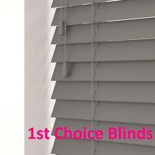 NEW Made to Measure Faux Wood Orion Dark Grey Venetian Window Blind 50mm Slats