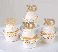 XO LOVE CUPCAKE TOPPERS IN GOLD GLITTER | BIRTHDAY | ANNIVERSARY | WEDDING