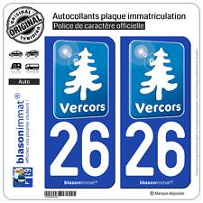 2 Stickers autocollant plaque immatriculation : 26 Vercors Tourisme Bleu