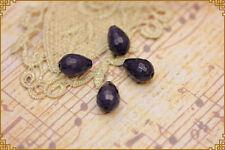 6pz pendente goccia pietra dura grigio blu 1,4x1cm per orecchini e collane