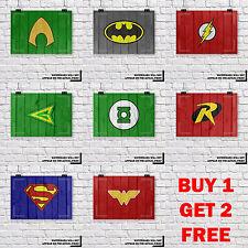 DC Comics Super Hero Wood Grain Kids Wall Art Print, Achetez 1 Obtenez 2 GRATUIT