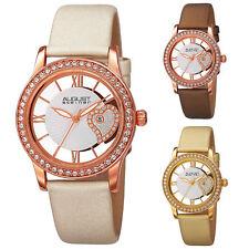 Womens August Steiner AS8176 Swarovski Crystal Bezel Date Satin Leather Watch