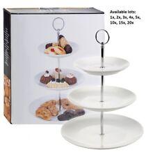 Pantalla de 3 pisos de cerámica redondo Pastel Cupcake Soporte Té Boda Comida Plato Rack