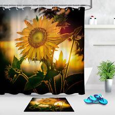 Sunrise Golden Sunflowers Fabric Shower Curtain Set & Hooks Bathroom Decor Mat