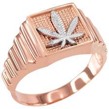 Rose Gold Marijuana Square Mens Ring