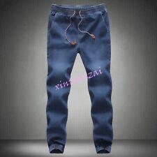 01 Mens Boy Denim Jogger Pants Drawstring Sweatpants Long Trouser Casual Jean