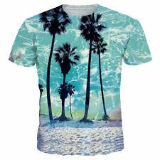 Fashion Summer Short Sleeve Tops Women Men 3D T-Shirt Casual Coconut Tree Print
