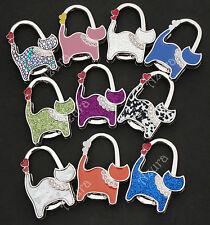 Glitter Sparkle Crystal Cat Kitten Folding Handbag Bag Purse Holder Hook Hanger
