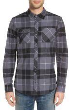 Nike HOLGATE Black Grey Plaid Long Sleeve Woven Button Down Flannel Men's Shirt
