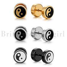 2-6pcs Stainless Steel Round BAGUA YING YANG Barbell Dumbbell Stud Earrings