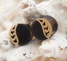 Pair Ebony Wood Floral Curl Inlay Organic Double Flared Ear Plug Gauges Handmade
