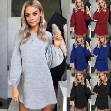 Women Autumn Winter Long Sleeve Loose Casual Knit Sweater Jumper Tops Mini Dress
