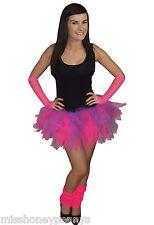 NEON PINK PURPLE TUTU SKIRT LEGWARMERS GLOVES 80S FANCY DRESS HEN PARTY FUN RUN