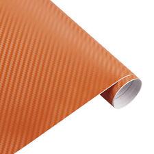 3d CARBONO NARANJA Lámina COCHE SIN BURBUJAS Aplicación Adhesiva