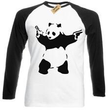 Banksy Panda T-Shirt Mens Long Sleeve baseball Urban Graffiti Cool Fashion Top