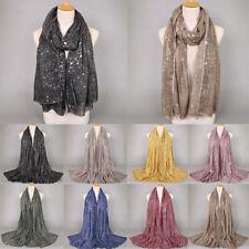 Womens Ladies Silver Viscose Scarf Shawls Muslim Head Wrap Hijab Scarves Glitter