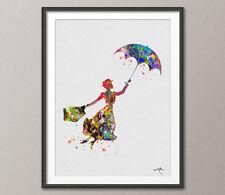Mary Poppins inspirado en las ilustraciones de acuarela impresión Pared Arte Cartel Giclee 2