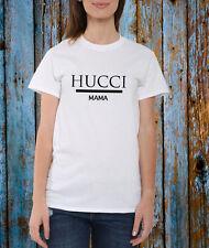 Hucci MAMMA Tee T Shirt Top Unisex Nero Bianco Blogger Tumblr popolari da VIP