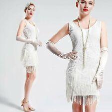 US STOCK Vintage White 1920s Flapper Unique Dress Roaring 20s wedding beaded