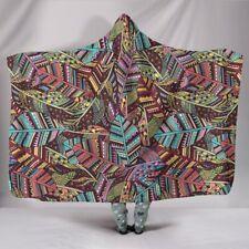 Boho Feathers Hooded Blanket - Sherpa And Microfiber Blanket With Hood