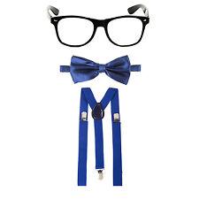 Geek Nerd Bowtie Fancy Dress Costume w/ Glasses + Bow Tie + Braces - Navy Blue