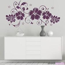 WANDTATTOO Hibiskustraum Blüten Blumen Hibiskus Sterne Ranke Wandaufkleber