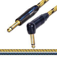 Jack Guitare Gold Neutrik à Jack plomb. long vintage Câble. 1m 2m 5m électrique