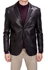 NEW Men's Genuine Soft Lambskin Leather Blazer Jacket TWO BUTTON Mens Coat LB56