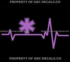 VRS HEART BEAT LINE STAR OF LIFE EMT Ambulance Medical No Snake CAR VINYL DECAL
