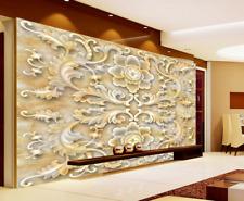 3D Mega Jade Carving Flowers 262 Wall Paper Wall Print Decal Wall AJ Wall Paper