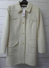 Womens Ladies New Warm Cream/Ivory Collared Button Pocket Jacket/Coat UK 8-16