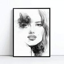 Amelie Watercolour Monochrome Print Poster Canvas Scandi Black White (pint)