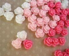 24 Mini Rose Pink & White Tone 4D Flower Resin Flatback/Clay/embellishment B166