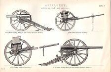 1880 PRINT ~ ARTILLERY MODERN BRITISH FIELD FIELD GUNS LIMBER BREECH LOADING &C