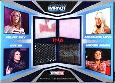 TNA Mickie James Winter A Love V Sky 2011 Impact BLUE Quad Relic Card SN 19 / 25
