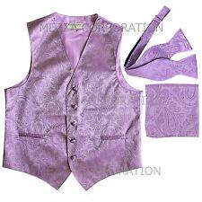 New Men's lavender vest Tuxedo Waistcoat self tie bow tie and hankie set party