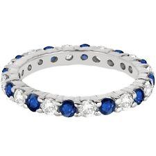2.50CT Blue Sapphire & Diamond Eternity Ring 14K White Gold