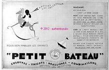 PUBLICITE PETIT BATEAU SOUS VETEMENT ENFANT CHEVAL DE BOIS DE 1929 FRENCH AD PUB
