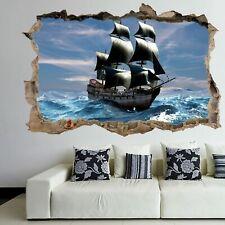 Pirate Ship 3D Wall Art Sticker Mural Decal Poster Kids Bedroom Home Decor GT3