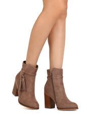 Refresh Concord-01 Women Faux Suede Almond Toe Tasseled Chunky Heel Bootie