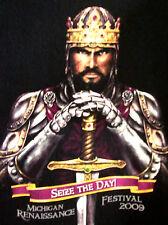MICHIGAN RENAISSANCE FESTIVAL Seize the Day tee 2009 knight T shirt MIRF med XL