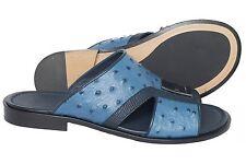 Giampieronicola 5379 Italian mens navy blu ostrich and lizard print sandals