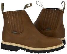 Mens Tan Tough Durable Rubber Sole Slip Boots Shoes Elastic Gusset