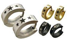 Kikuchi Herren Damen Ohrringe Edelstahl Creolen silber gold schwarz glatt Stern
